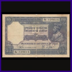 1926, George V, J.B.Taylor, 10 Rupees Note, Rare British India Banknotes