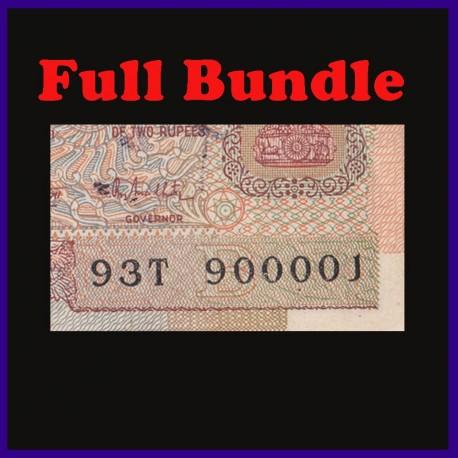 B-32, Fancy Numbered Full Bundle 2 Rupees, R.N.Malhotra, Satellite, 100 Notes