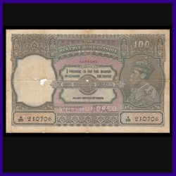 100 Rs George VI, Karachi Issue, J.B.Taylor, British India Note