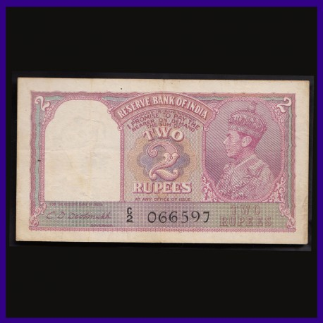 2 Rupees Note, C.D.Deshmukh, George VI King Facing Left, British India