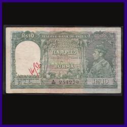 10 Rs Note, Burma Issue, J.B.Taylor, George VI, British India