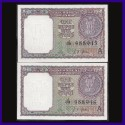 A-13, 1963, Set of 2 BUNC Notes In Series, L.K.Jha 1 Re Notes