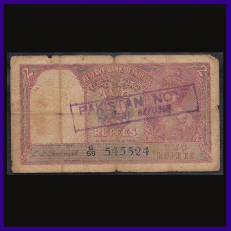 Pakistan Note Payment Refused 2 Rs Note, C.D.Deshmukh, George VI King Facing Left, British India