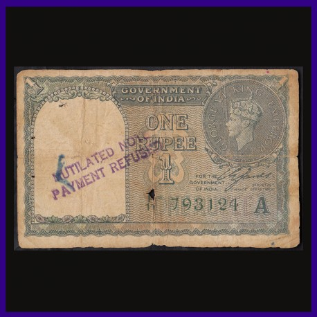 1940, Pakistan Notes Payment Refused 1 Re C.E.Jones, George VI, British India Note