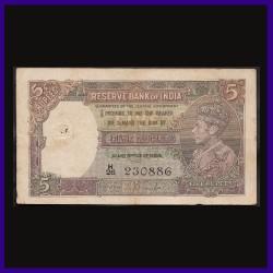 5 Rupees Note, J.B.Taylor, George VI, British India - 656495