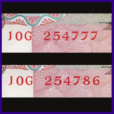 D-32, Set of 2, UNC 10 Rs Notes I.G.Patel, Peacock On Reverse