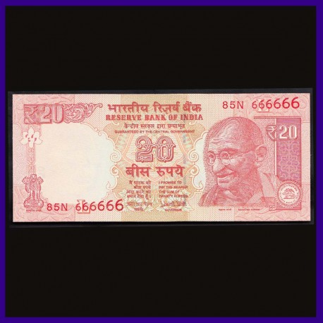 UNC, 20 Rs Note, 666666 Fancy Numbered Note