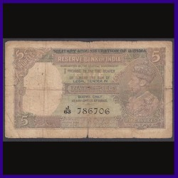 Burma Issue 5 Rs, J.B.Taylor, 786 Note, George VI, British India