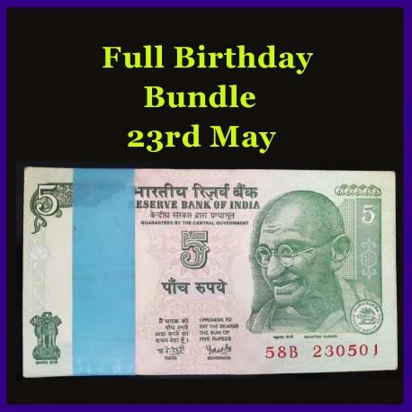 Y. Reddy Birthday Bundle 5 Rupees 100 UNC Notes