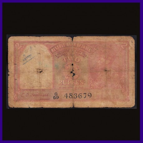 Pakistan Overprint 2 Rupees Note, C.D.Deshmukh, George VI British India Note