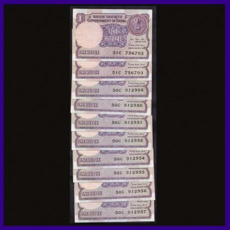 A-46, 1984 Set of 10 UNC One Rupee Notes Pratap Kishen Kaul