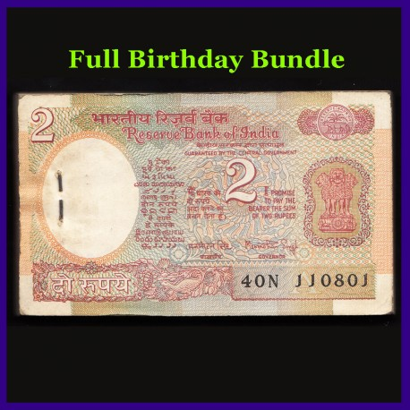 B-29, Full Birthday 2 Rs Bundle, Manmohan Singh, Satellite, 100 Notes