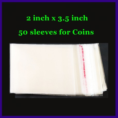50 Pieces Of 2 Inch x 3.5 Inch Plastic Transparent Sleeves With Seal For Coins