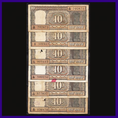 Set of 6, Different  Prefix 10 Rs Boat Notes S Jagannathan