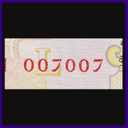 UNC, 50 Rs Note, 007007 James Bond Fancy Numbered Note