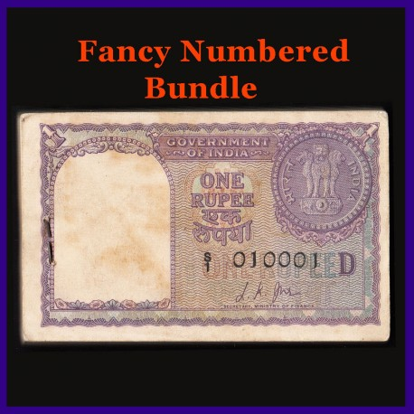 A-12, 1957, Full Fancy Bundle, L.K.Jha, 100 Notes - D Inset