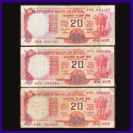 Set of 3 Different Signs 20 Rs Note, Konark Wheel