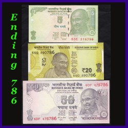 BUNC Set of 3 Notes With 786 Holy Number