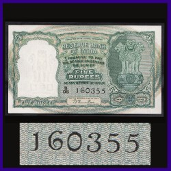 C-1, UNC B.Rama Rau, 5 Rs Note, 1950 First Issue, 3 Deer Note