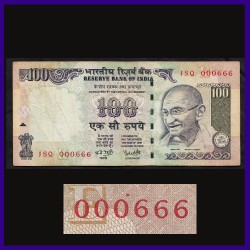 100 Rs Note 000666 Fancy Serial Number - Signed by Reddy