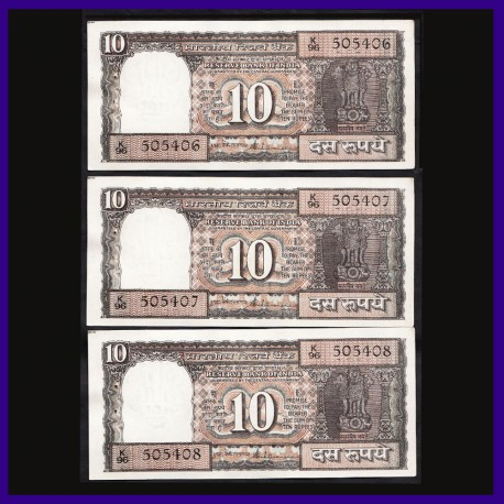 D-29, Set of 3 UNC Notes In Series Venkitaramanan 10 Rs Notes