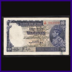 J.B.Taylor 10 Rs George VI Side Facing British India Note