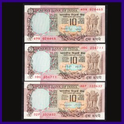 Set of 3, BUNC All Different Signs, 10 Rs Notes, Peacock On Reverse