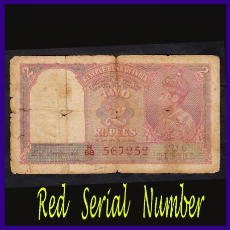Red Serial Number 2 Rupees C.D.Deshmukh Note, George VI, British India