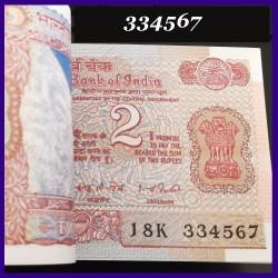 B-28, Full Bundle 2 Rupees Note I.G.Patel, Satellite 100 Note