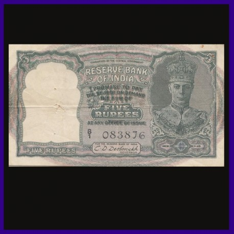 5 Rs, C.D.Deshmukh, 3 Deer, George VI, British India Note