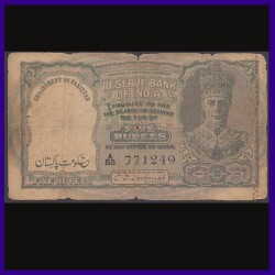 5 Rs, C.D.Deshmukh, Pakistan Overprint, 3 Deer, George VI British India Note