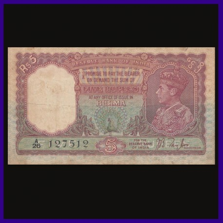 5 Rs, Burma Issue, J.B.Taylor, George VI, Red Peacock Note, British India