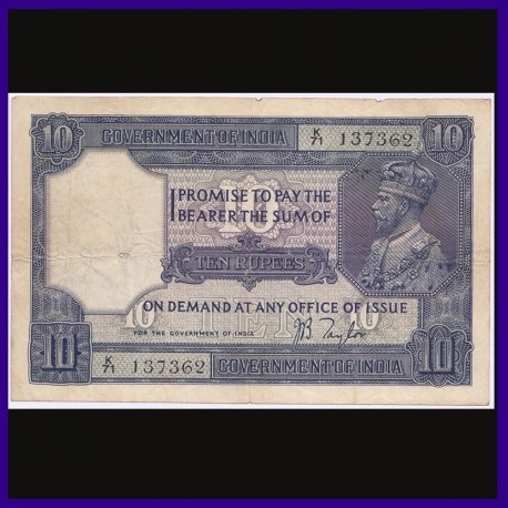 1926, George V, 10 Rupees Note, J.B.Taylor, British India Banknotes