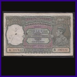 100 Rs George VI, Bombay Issue, C.D.Deshmukh, British India Note