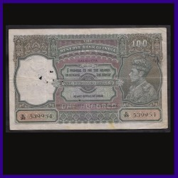 100 Rs George VI, Calcutta Issue, C.D.Deshmukh, British India Note